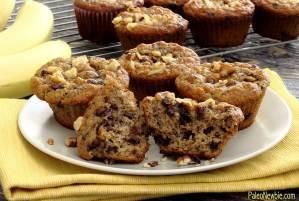 PaleoNewbie.com recipe for delicious paleo and gluten free banana nut chocolate chip muffins