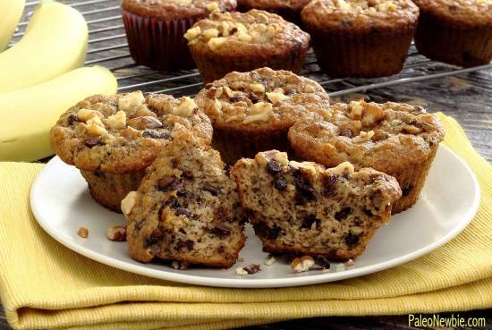 PaleoNewbie.com recipe for delicious paleo and gluten free banana nut chocolate chip muffins