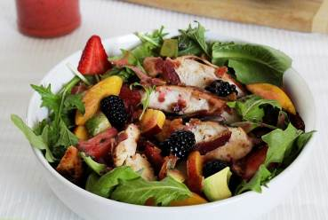 easy paleo recipe for a greens and berry summer salad