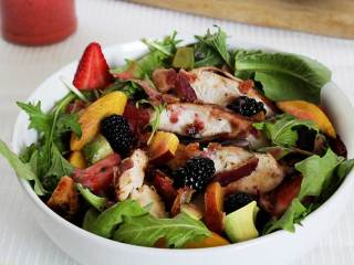Paleo Chicken, Berry & Nectarine Salad with Strawberry Vinaigrette