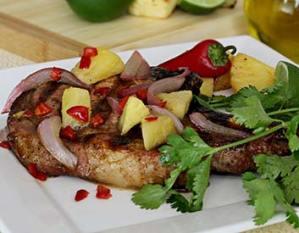 paleo recipe grilled pork chop with pineapple-pepper salsa