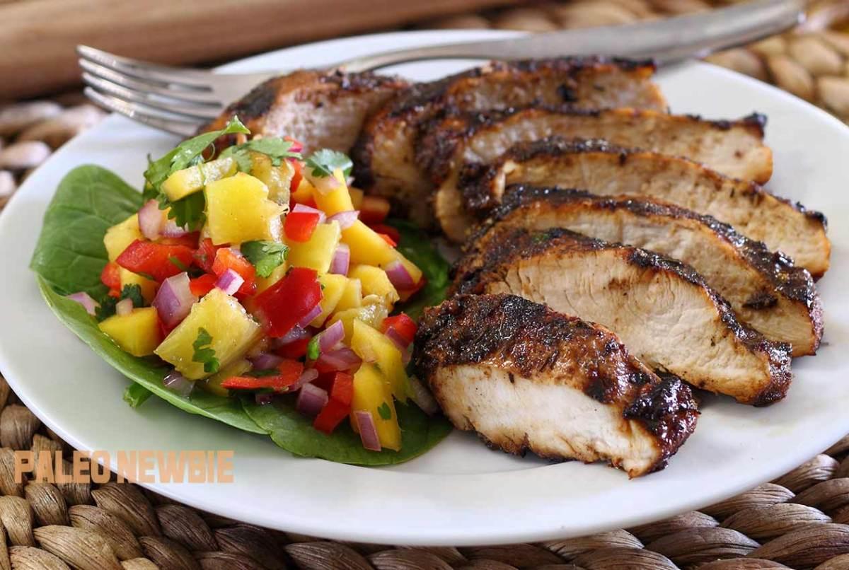 easy paleo recipe for jerk chicken with mango-pineapple salsa