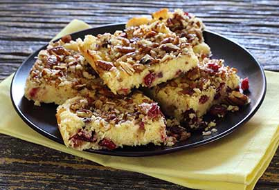 Paleo Lemon Coconut Cranberry Bars Recipe