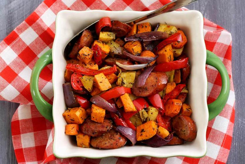 easy paleo recipe for veggies and sausage