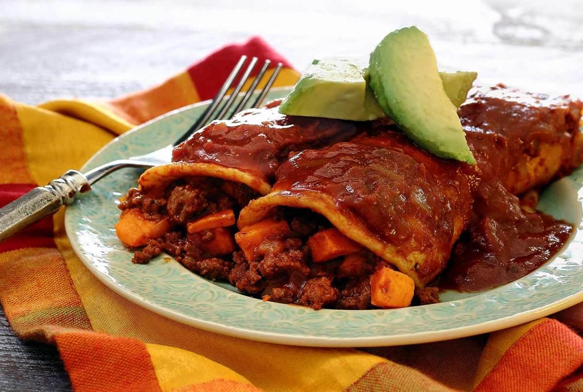 easy paleo recipe for enchiladas with chorizo and sweet potatoes