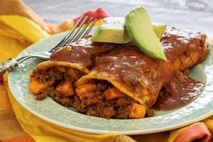 easy paleo recipe enchiladas with chorizo and sweet potatoes