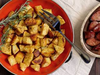 Paleo Roasted Mustard White Sweet Potatoes