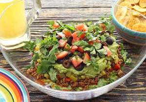 Easy paleo recipe for Mexican Layered Dip (No Beans)
