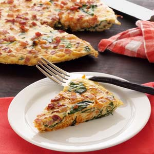 easy paleo recipe for spinach-pancetta frittata
