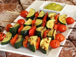 Paleo Veggie Kabobs with Avocado Sauce
