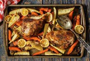 easy paleo recipe for pan roasted chicken and veggies
