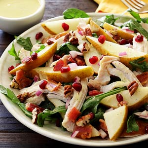 Fall Harvest Turkey and Pear Salad with Pear Vinaigrette Paleo Recipe