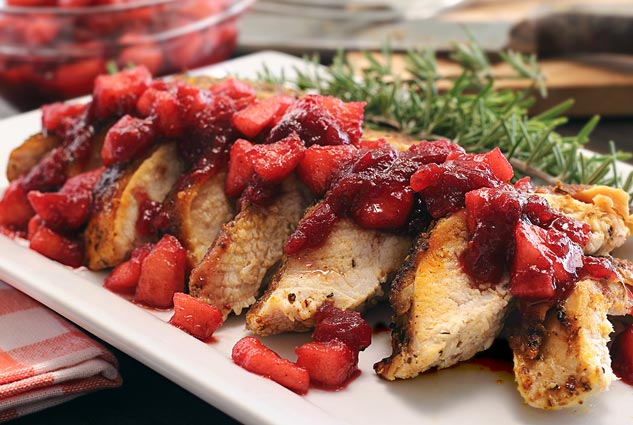 thanksgiving or anytime paleo recipe for roasted turkey breast with apple-cranberry compote