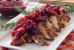 simple paleo recipe for roasted turkey with apple-cranberry compote