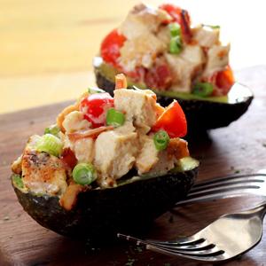 simple paleo recipe for stuffed bacon-tomato-chicken avocado