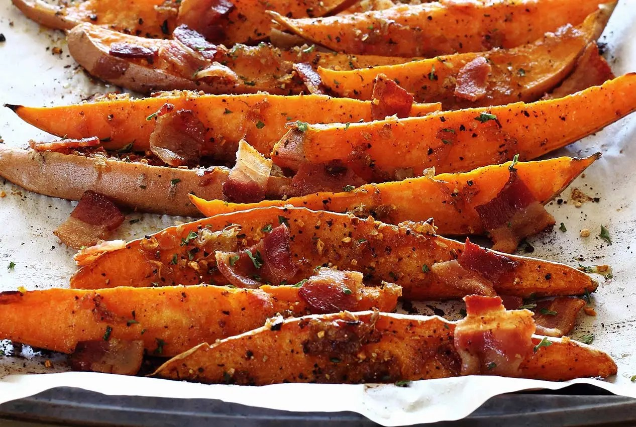 paleo recipe for sweet potato wedges with bourbon-bacon glaze