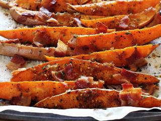 Sweet Potato Wedges with Bourbon-Bacon Glaze