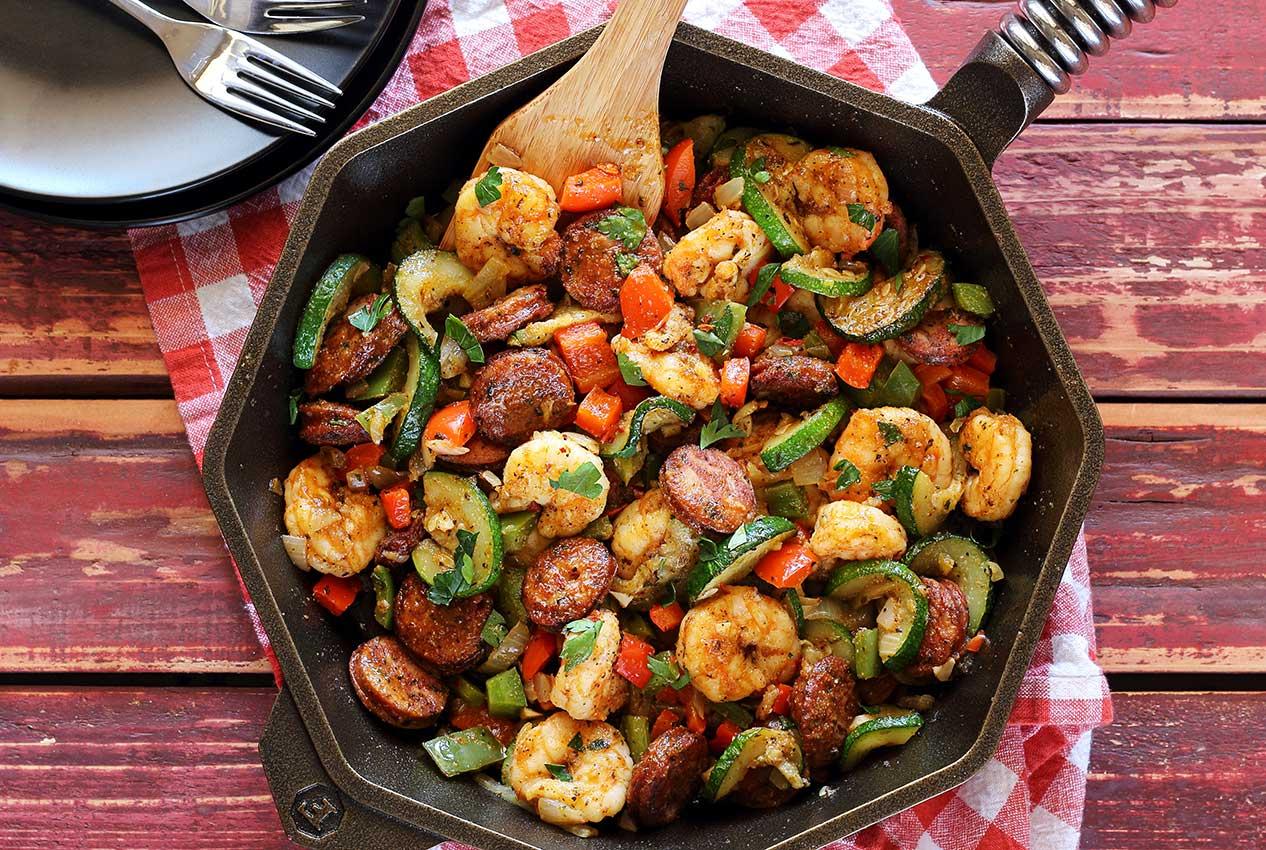 Skillet Shrimp, Sausage, and Rice
