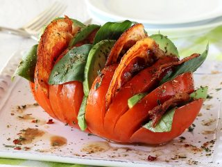 Paleo Hasselback Tomatoes with Pancetta
