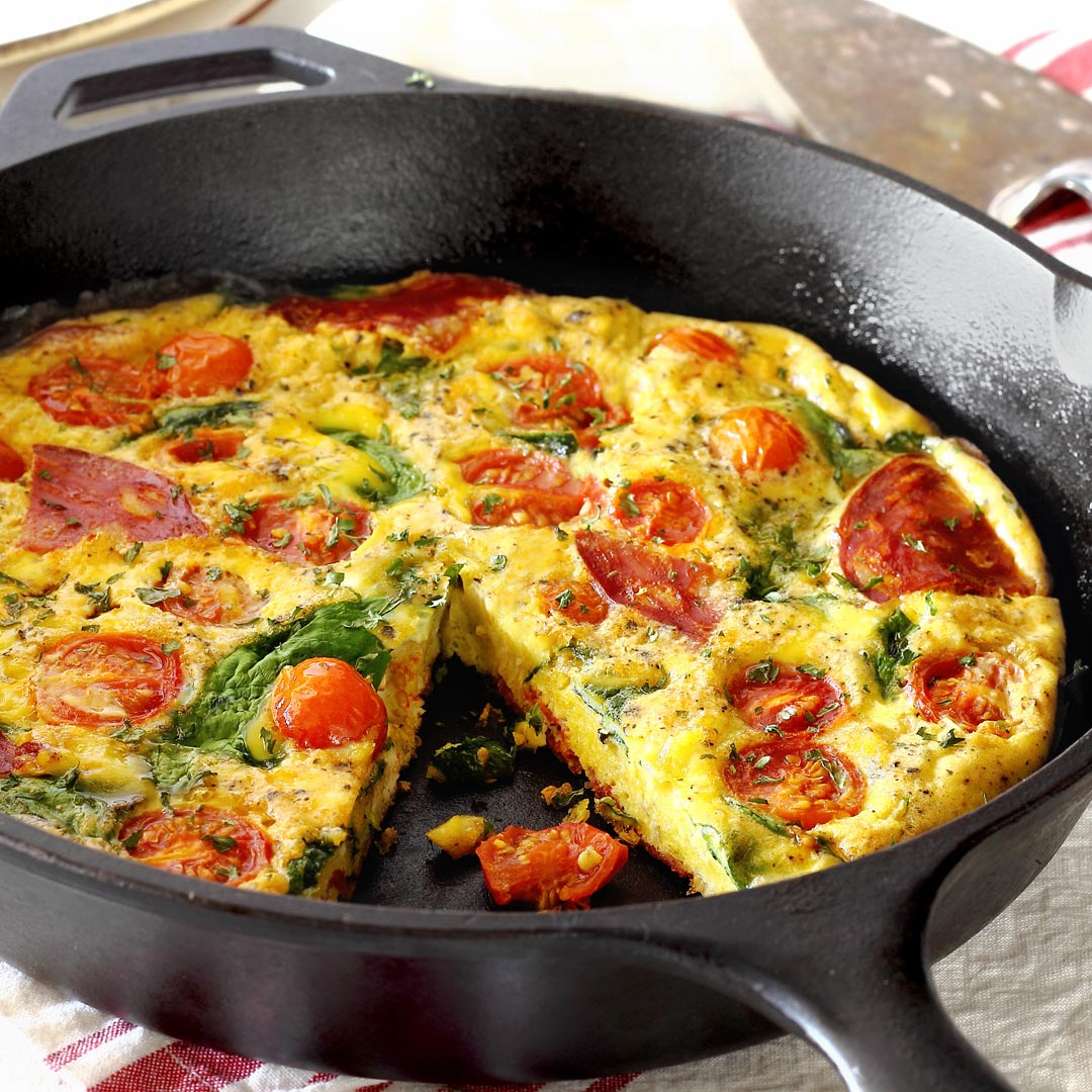 simple paleo frittata made with eggs, chorizo and tomatoes