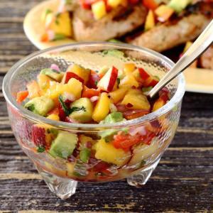 easy paleo recipe for pork chops and peach salsa