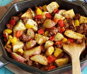 simple recipe for roasted potatoes with spicy chorizo