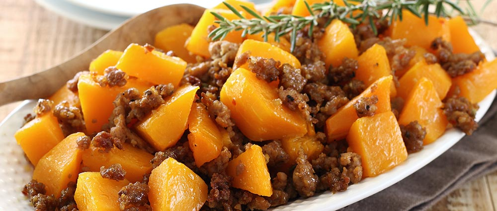 paleo recipe for easy butternut squash and sausage side dish