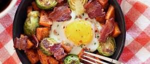 mini skillet paleo breakfast with potatoes, bacon and Brussels sprouts