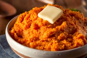 mashed sweet potatoes (or yams) with butter