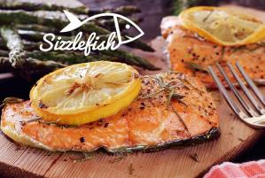 Sizzlefish plank grilled salmon fillets