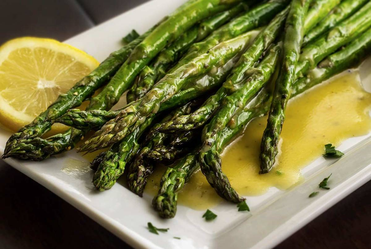 lemon vinaigrette over grilled asparagus