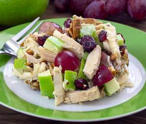 easy paleo recipe for a chicken, apple, cranberry, grape and pecan salad