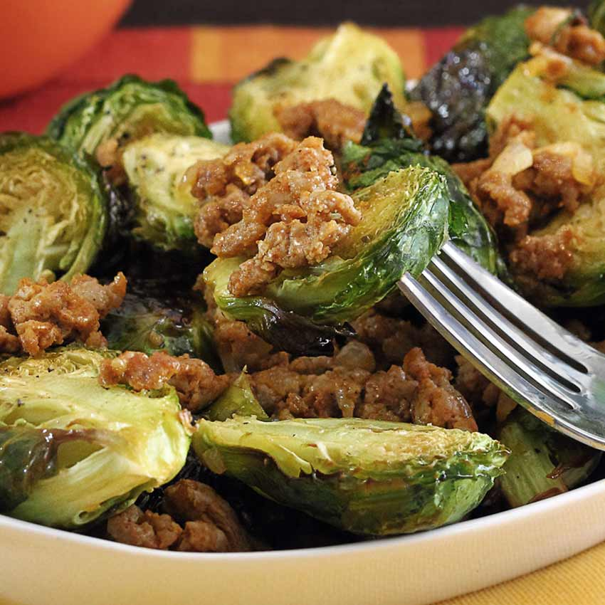 paleo brussels sprouts with chorizo recipe