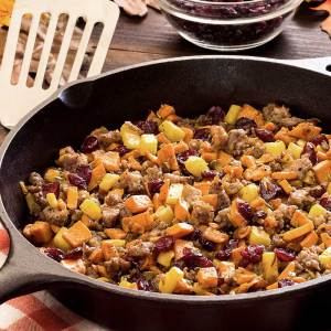 easy paleo and gluten-free hash recipe with sausage, potatoes and cranberries