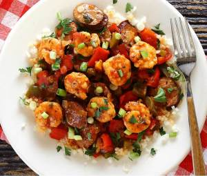simple paleo and gluten-free recipe for authentic shrimp and sausage jambalaya