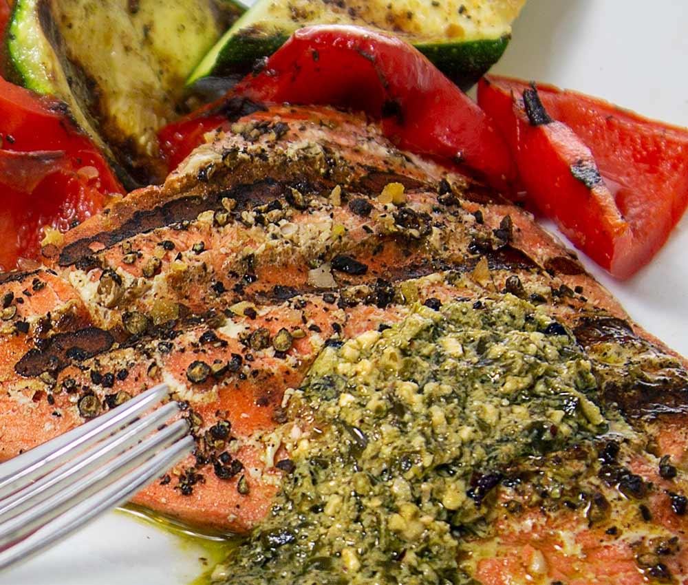 grilled salmon and veggies with a lemon pesto