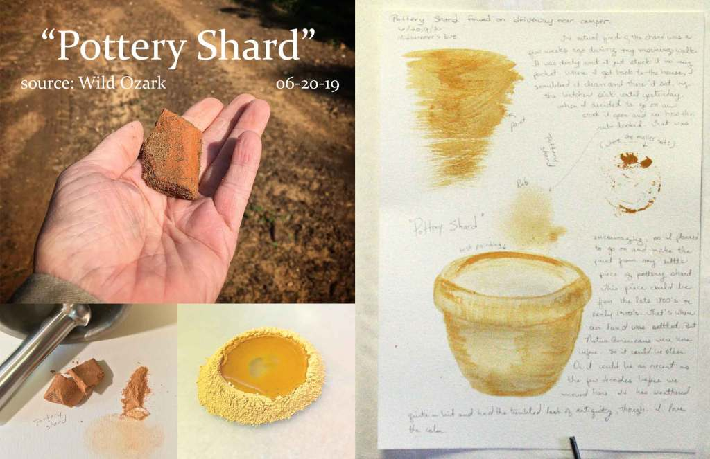 "The journal entry for my latest pigment ""Pottery Shard""."