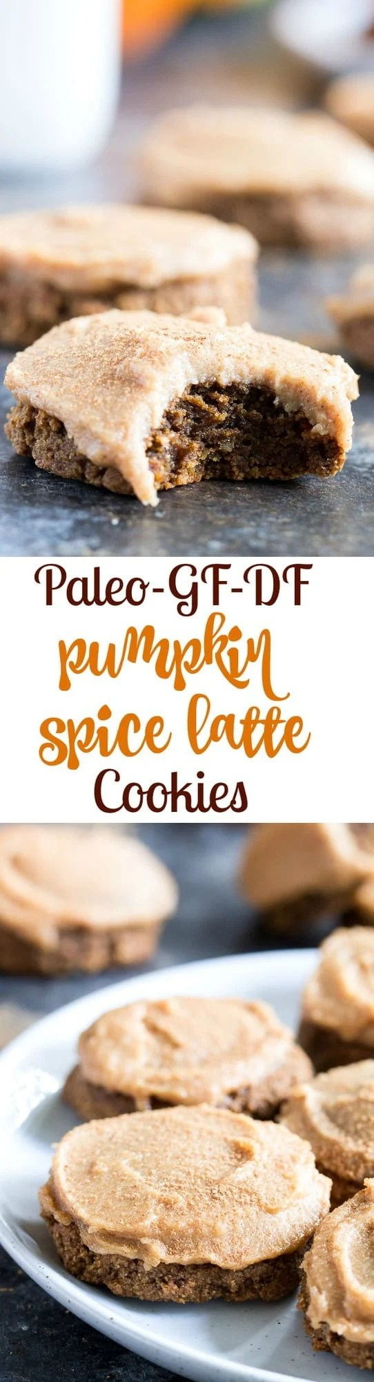 "These Paleo Pumpkin Spice Latte Cookies have lots of sweet spice and are topped with a maple cinnamon cashew ""cream cheese"" frosting! Soft and chewy, gluten-free, dairy-free, vegan option"