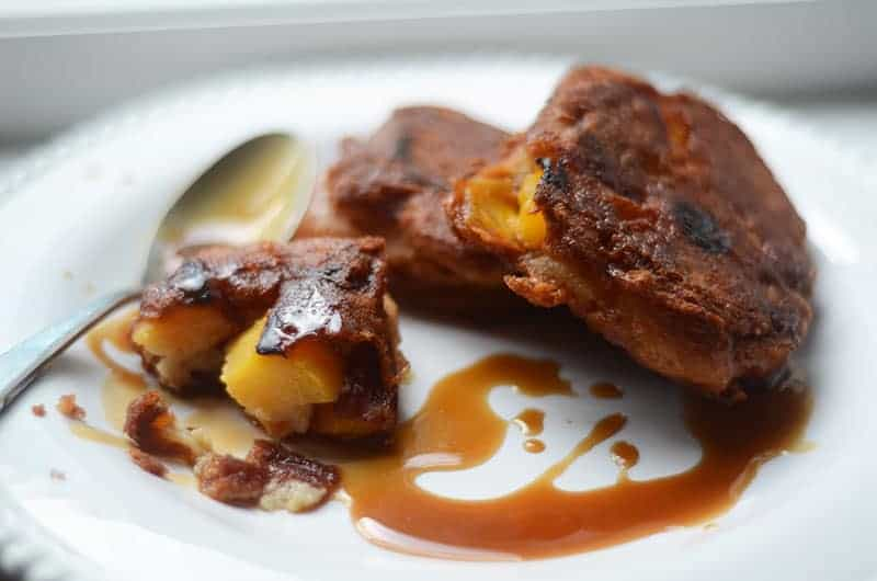 Peach Fritters with Maple-Bourbon Glaze