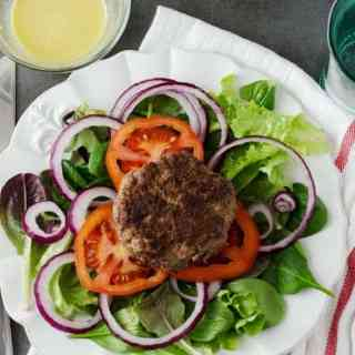 Hamburger Salad with Mustard Vinaigrette Dressing