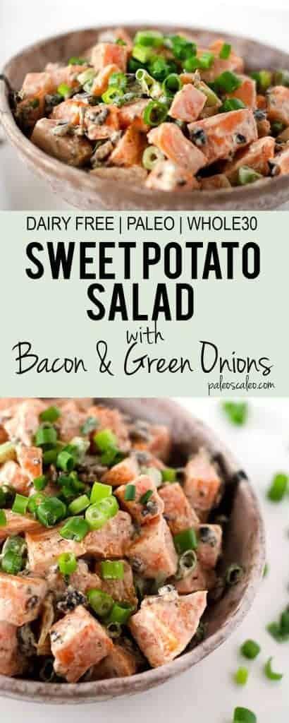 Sweet Potato Salad with Bacon and Green Onions | PaleoScaleo.com