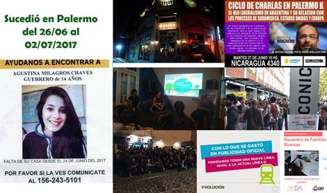 Te contamos qué sucedió esta semana en el barrio de Palermo, desde el 26 de junio hasta el 2 de julio de 2017