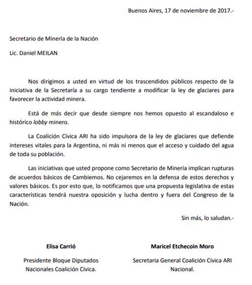 La diputada Carrió notificó al Gobierno que no votará la Ley de Glaciares