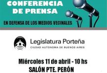 Convocatoria a Conferencia de Prensa en la Legislatura porteña, el miércoles 11 de abril a las 10 h-