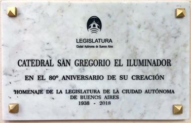 Homenaje de la Legislatura porteña a la Catedral San Gregorio el Iluminador
