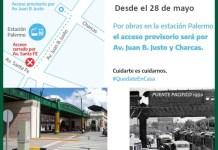 A la estación Palermo del San Martín se accede por Juan B. Justo y Charcas por obras de reforma