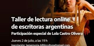 Lola Castro Olivera estará el jueves 2/7 en el taller de lectura online de escritoras argentinas