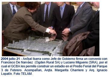 2004 julio 21 - Aníbal Ibarra como Jefe de Gobierno firma un convenio con Francisco De Narváez  (Ogden Rural SA) y Luciano Miguens (SRA),