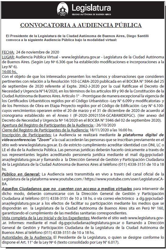 Audiencia Pública del 24-11-2020 16.00 HS