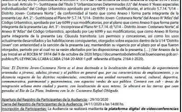 Convocatoria a Audiencia Pública del 27-11-2020 14.00 hs.